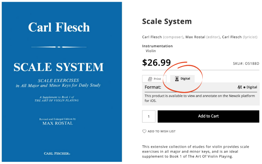 Carl Flesch Studies on iPad and product page screenshot