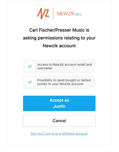 Newzik permission screenshot